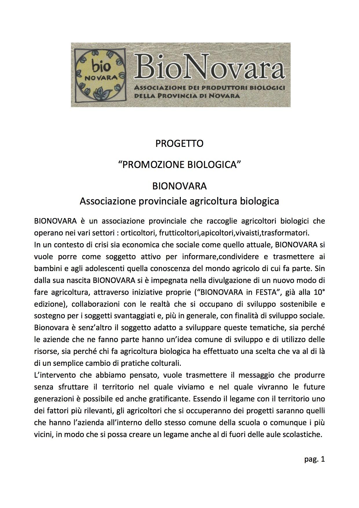 progetto scuola bionovara